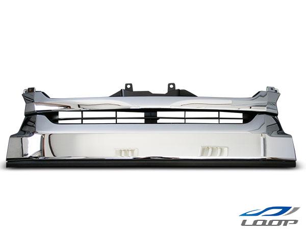 ハイエース 200系 正規取扱店 レジアス スーパーGL 標準 ついに入荷 ワイド フロントグリル メッシュ メッキ ブラック マークレス ワイドボディ用 パーツ H25.12~ ラジエーター メッキグリル 純正タイプ グリル 4型 カスタム レジアスエース 補修