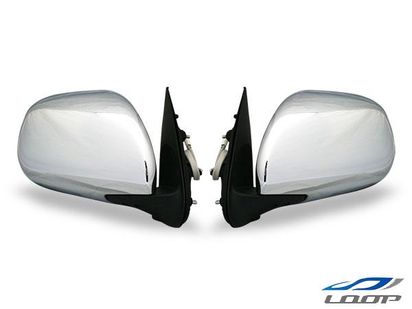 ハイエース 200系 再再販 レジアス スーパーGL 標準 ワイド ミラー サイド ドア 電動 メッキドアミラー 電動調整 左右セット 交換 レジアスエース 5☆大好評 H16~ S-GL 鏡 電動格納 メッキ