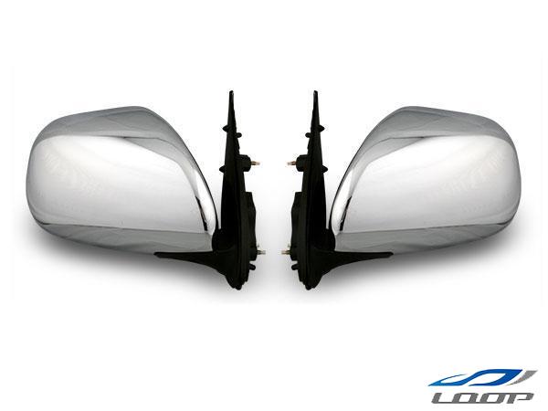 ハイエース レジアスエース 200系 S-GL 4型 純正タイプ 電動格納/電動調整 ディフューザー付きメッキドアミラー 左右セット H16~