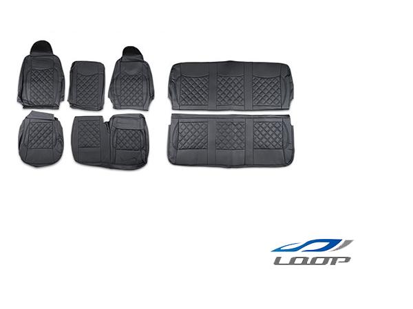 ハイエース 200系 DX専用 ダイヤカット レザー シートカバー ブラックステッチ フロント セカンド用 H16~H28.5