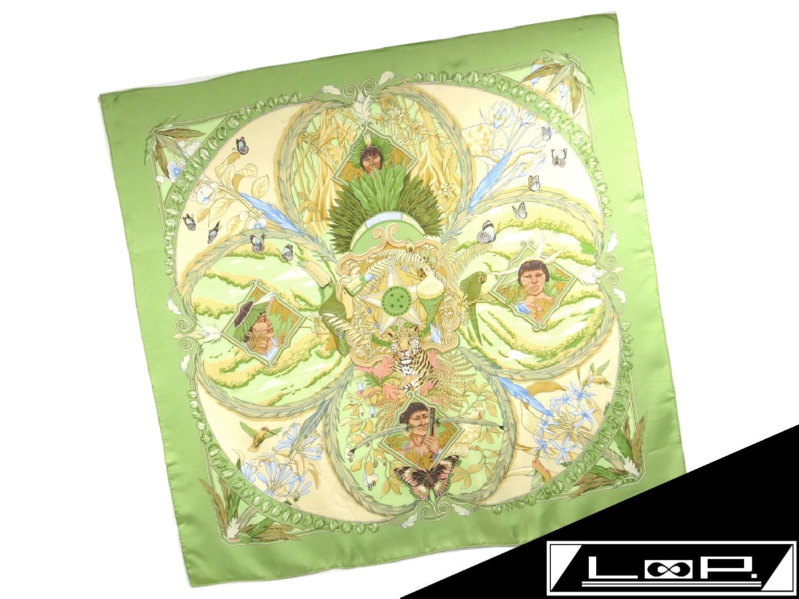 【SALE】【未使用】 HERMES エルメス カレ 90 AMAZONIA アマゾニア スカーフ グリーン 緑 イエロー 黄色 インディアン シルク 【A15559】 【中古】