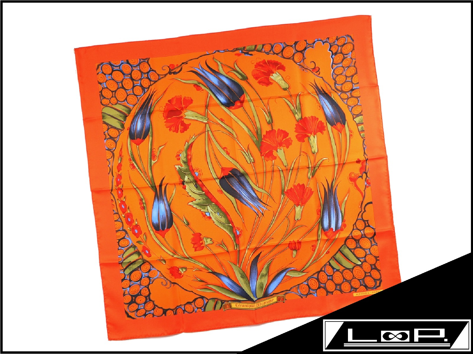 【SALE】【未使用】 エルメス カレ 90 スカーフ CERAMIQUE OTTOMANE オスマン陶磁器 花柄 シルク オレンジ 【A17109】 【中古】