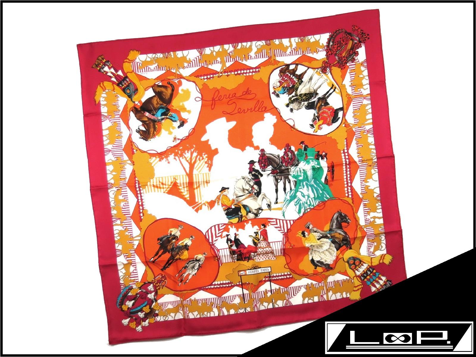 贅沢屋の 【未使用】 エルメス カレ カレ 90 赤 スカーフ FERIA レッド DE SEVILLA セビリアの休日 馬 レッド アカ 赤 オレンジ シルク【A17110】【中古】, ジョウエツシ:fb7e668d --- totem-info.com