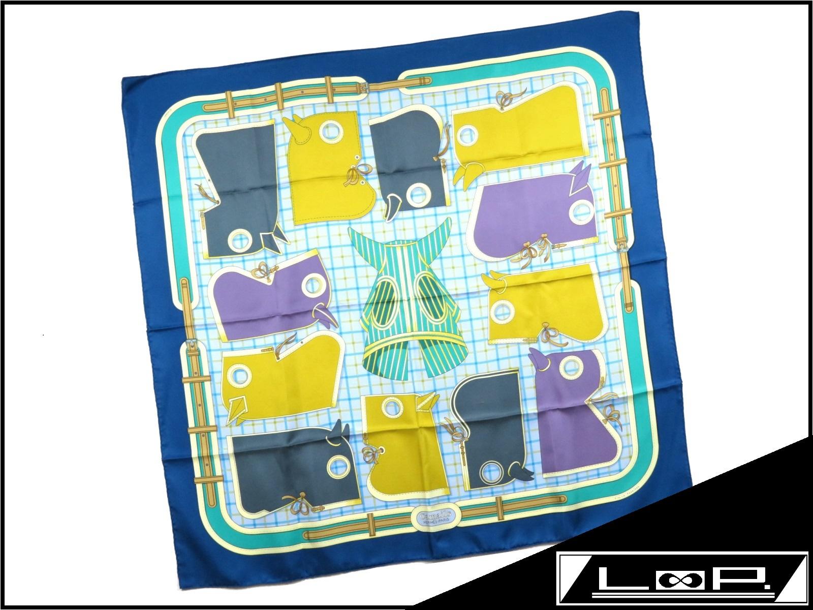 【新同】 エルメス カレ 90 スカーフ Camails カマイユ 馬 ホース ブルー アオ 青 黄色 シルク 【A17063】 【中古】