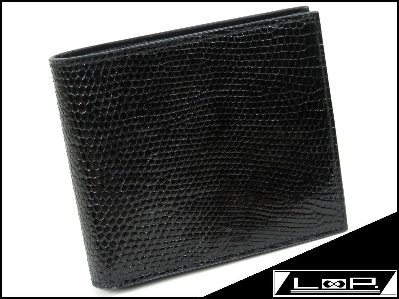 【美品】 プラダ 二つ折り 財布 サイフ 札入れ リザード レザー カーフ ブラック クロ 黒 M513 【A17755】 【中古】