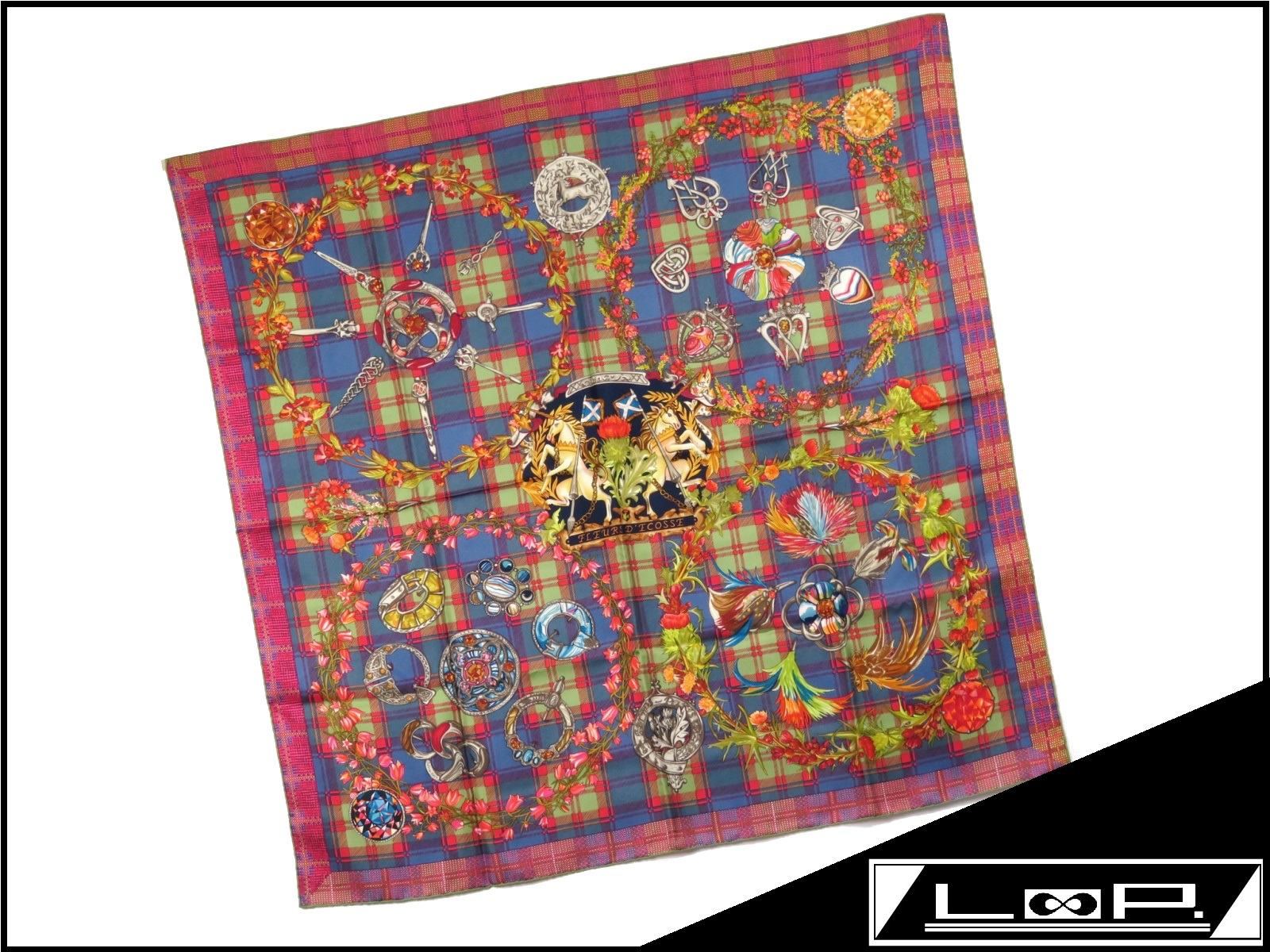 【新同】 エルメス カレ 90 スカーフ FLEURSD'ECOSSE スコットランドの花 チェック フラワー 花 馬 ブルー 青 レッド 赤 シルク 【A17558】 【中古】