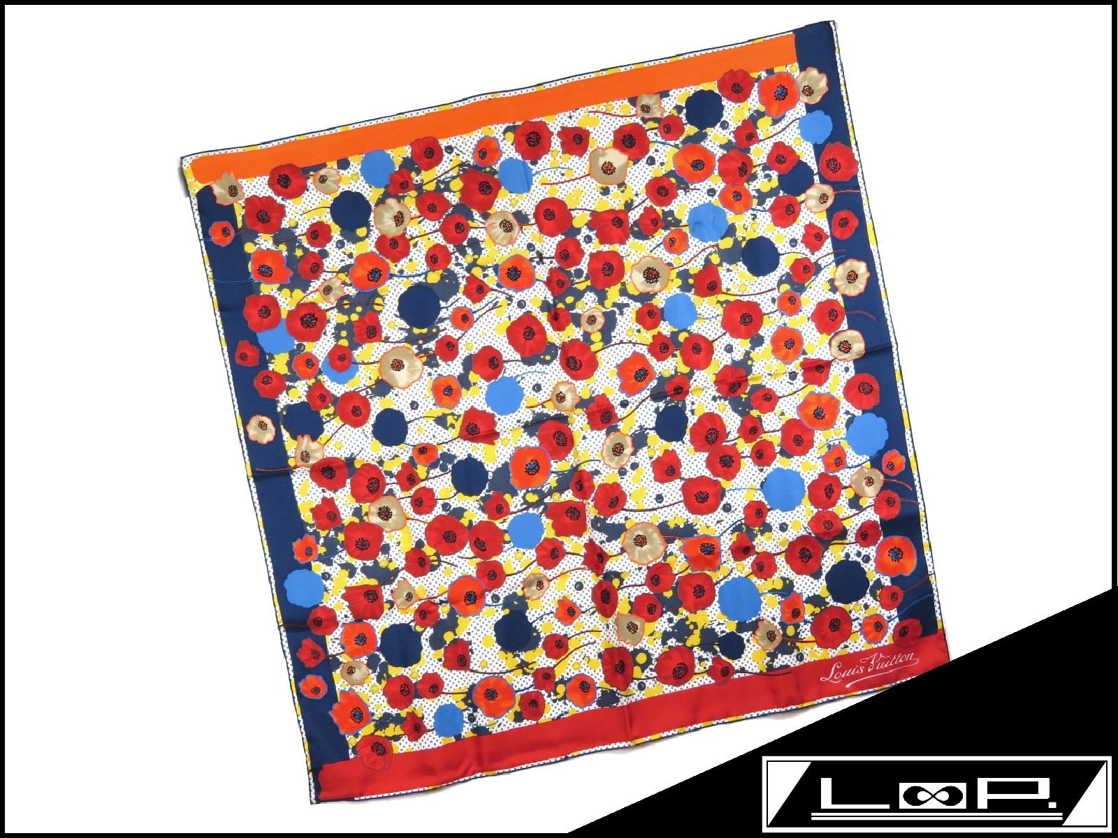 【新同】 LOUIS VUITTON ルイ・ヴィトン スカーフ フラワー 花柄 ドット ブルー レッド イエロー 青 赤 黄色 シルク M75222 【A19067】 【中古】