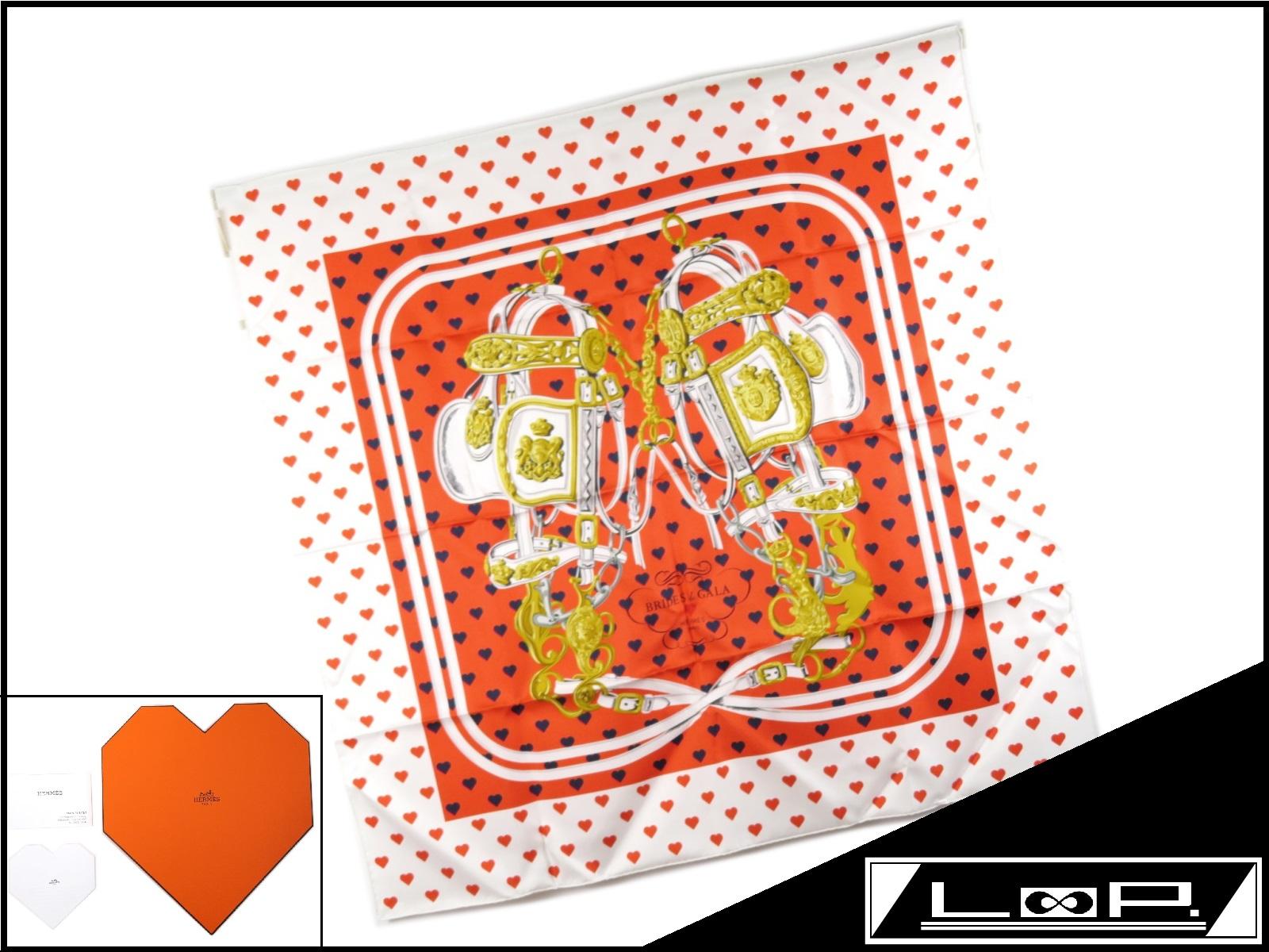 2019年春の 【限定未使用2017年春夏】 Love HERMES エルメス カレ 90 Brides【中古】 de HERMES Gala Love ブリッド ドゥ ガラ ラブ スカーフ ツイル ハート【A20104】【中古】, 【今日の超目玉】:4aa5aedb --- totem-info.com