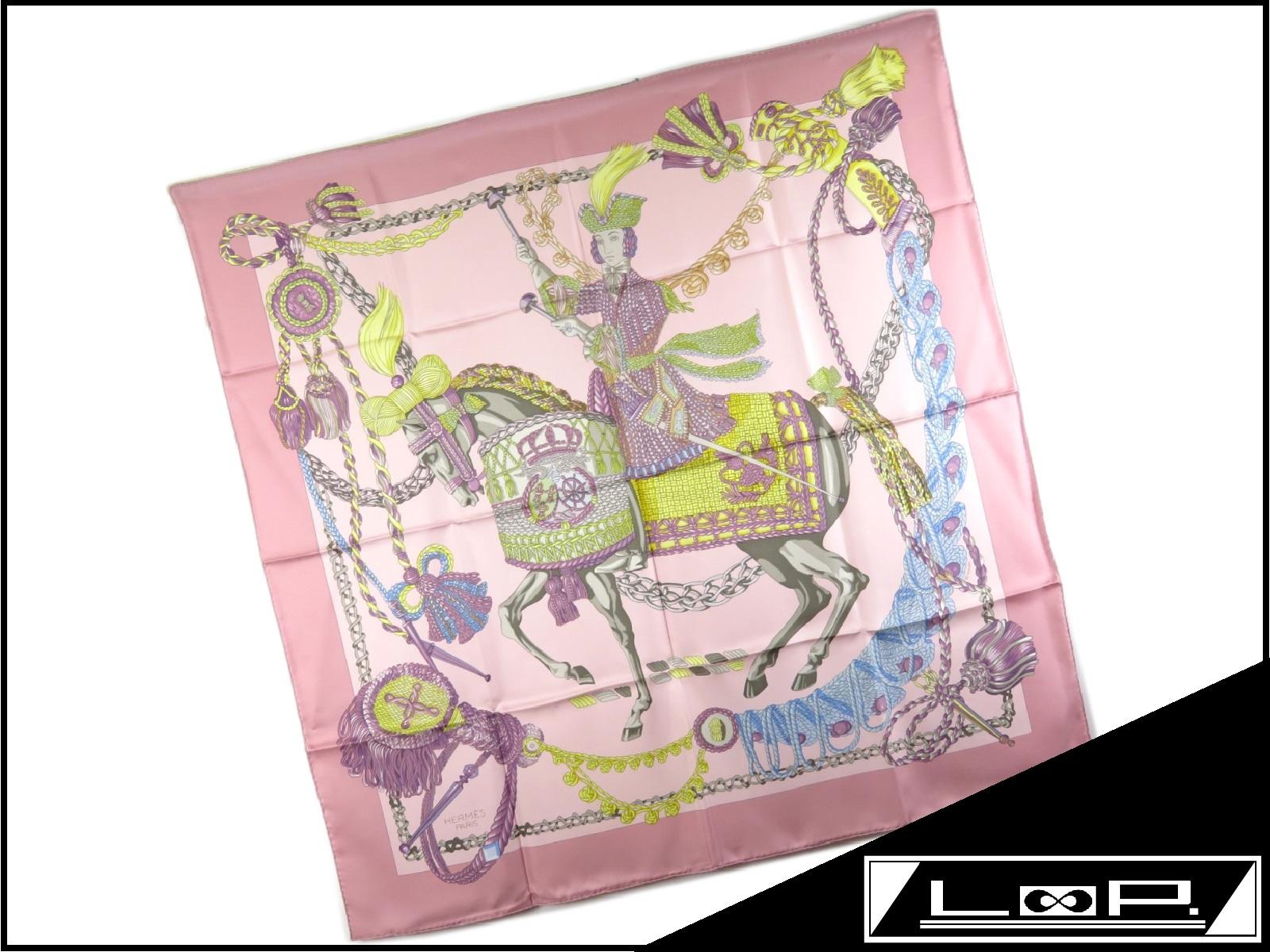【新同】 HERMES エルメス カレ 90 スカーフ 馬 騎士 シルク ピンク 【A19894】 【中古】