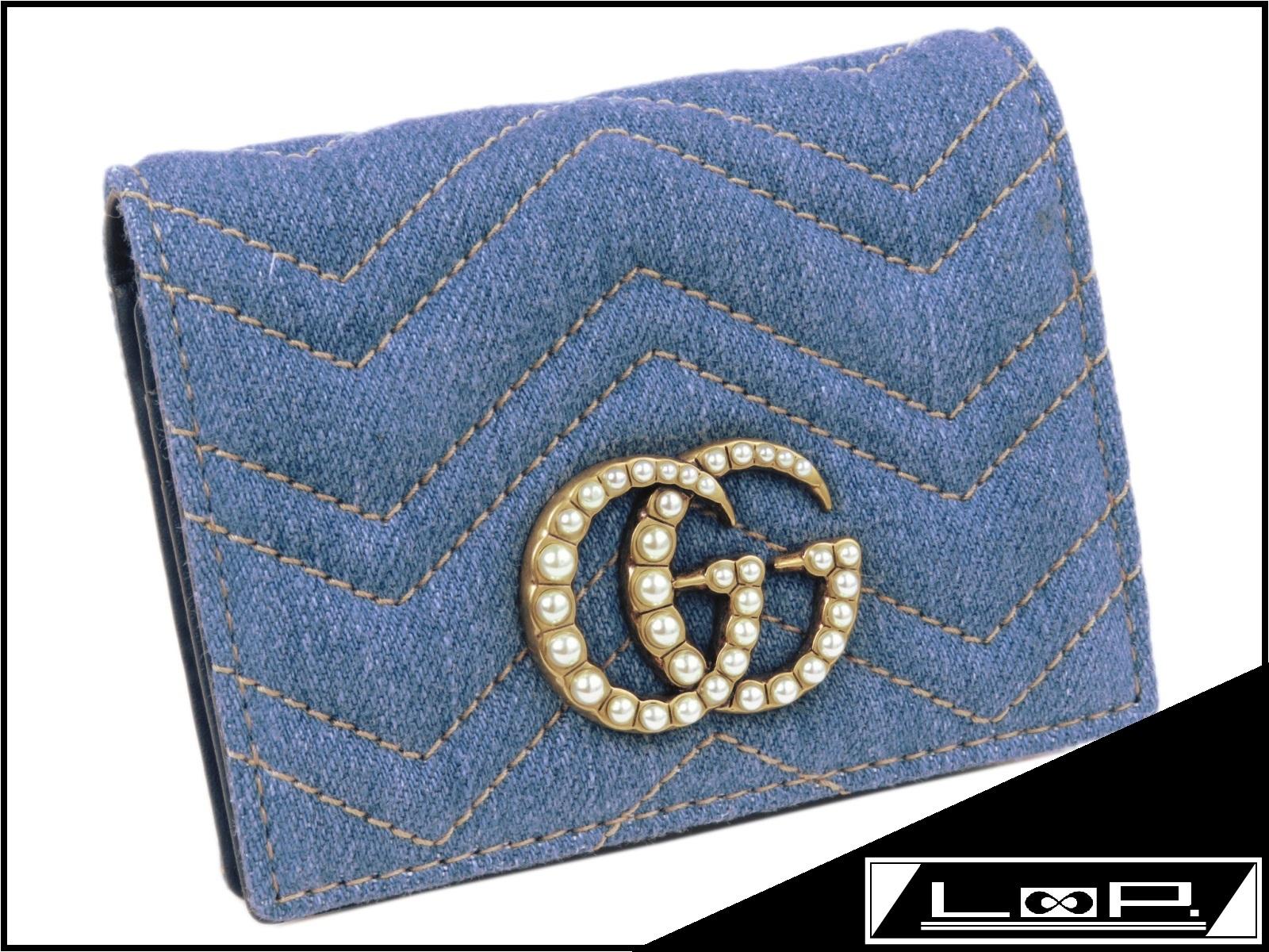 fe378f95c6e7 【新同】GUCCIグッチGGマーモント二つ折り財布サイフデニムパールブルー水色466492