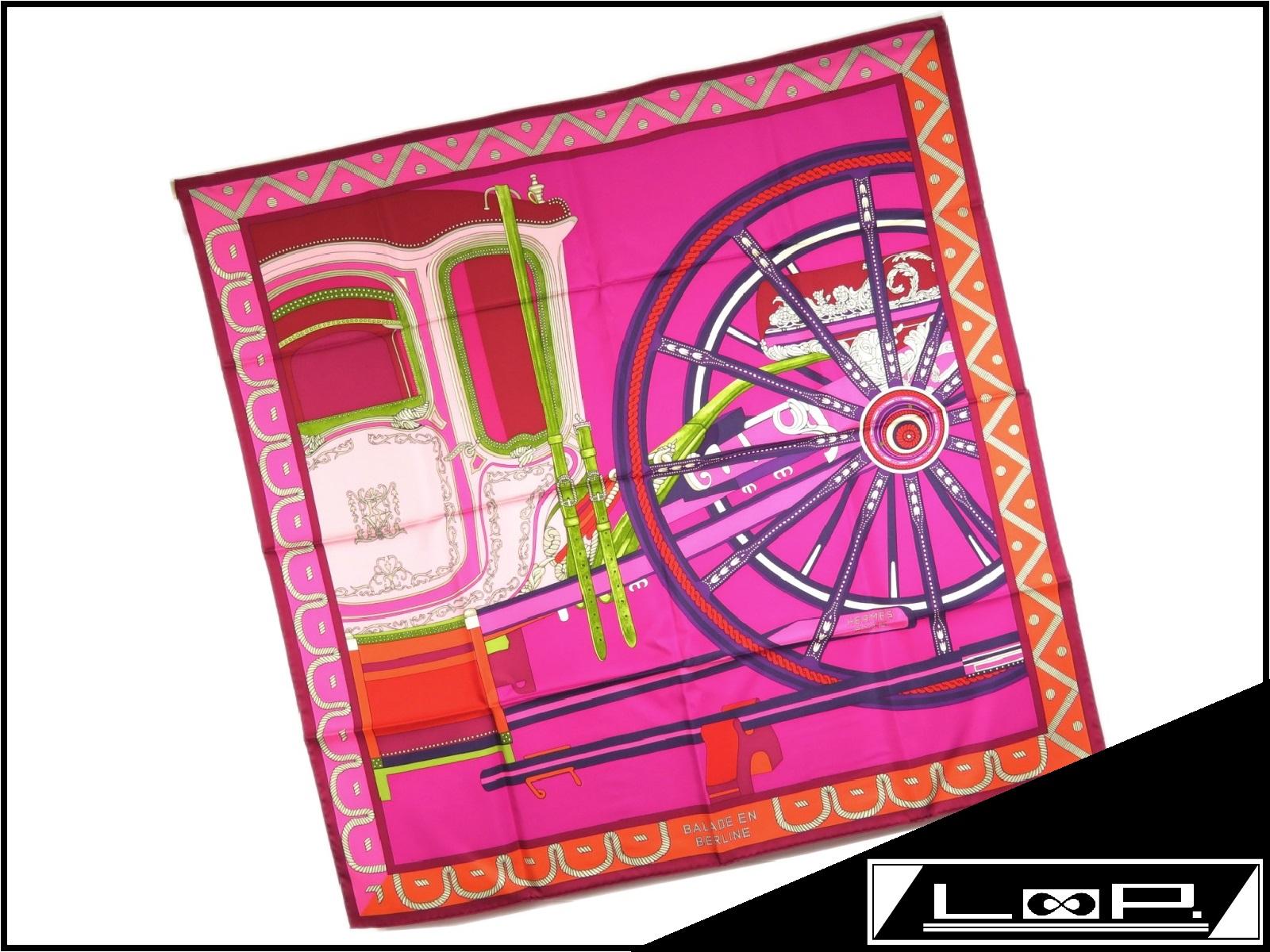【未使用】 HERMES エルメス カレ 90 BALADE EN BERLINE ベルリンヌ馬車に乗って スカーフ 馬車 シルク ピンク パープル 紫 【A21174】 【中古】