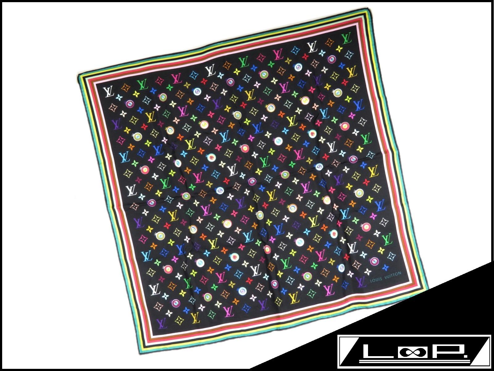 大注目 【限定】 LOUIS VUITTON ルイ・ヴィトン シルク 村上 アイラブ 隆 村上 スカーフ アイラブ モノグラム LV シルク ノワール 黒 マルチカラー M71916【A21407】【中古】, e-バザール:a1c8471d --- totem-info.com