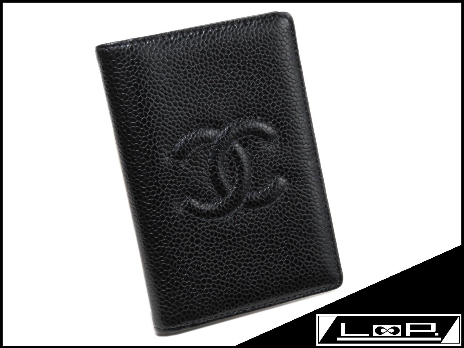 【美品】 CHANEL シャネル ココ カード ケース パス ケース 定期 入れ 財布 類 キャビア スキン ブラック 黒 クロ 【A21477】 【中古】