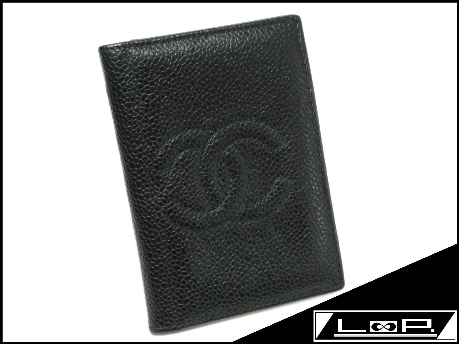 【CHANEL】 シャネル ココ カード ケース パス ケース 定期 入れ 財布 類 キャビア スキン ブラック 黒 クロ 【A21563】 【中古】