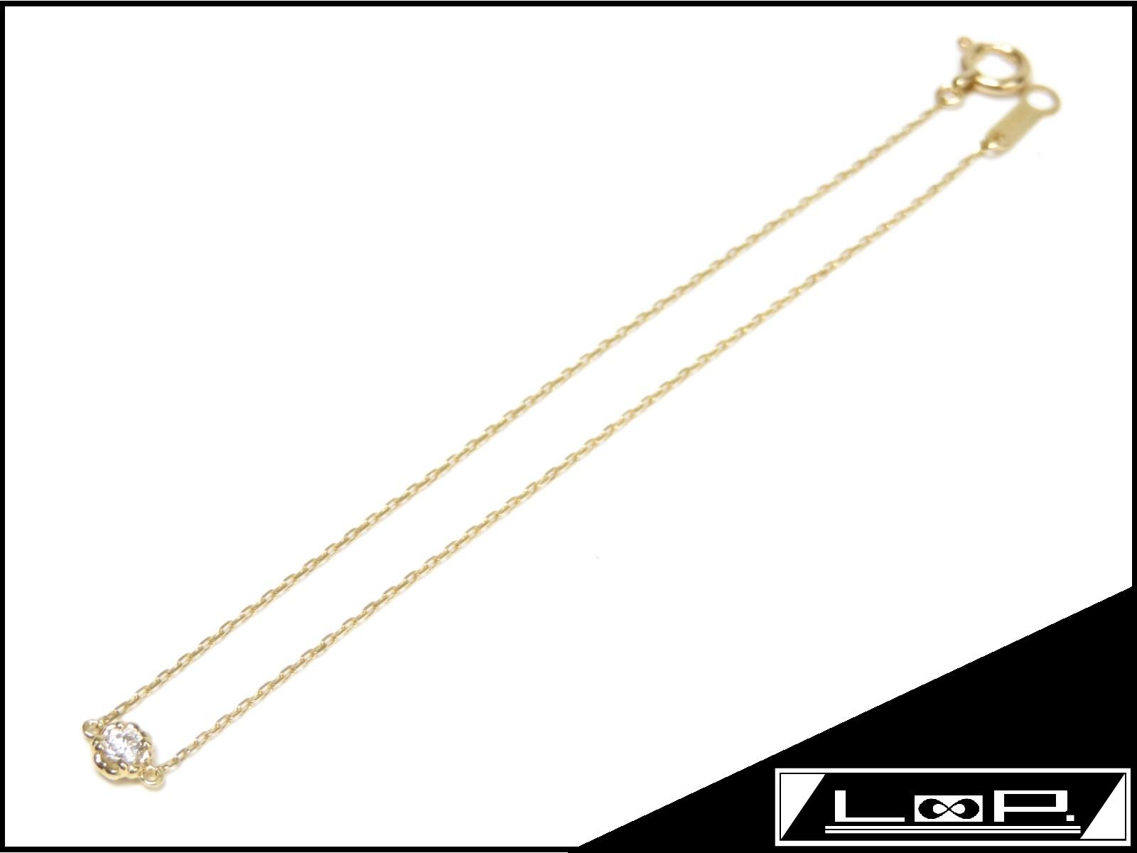 【2017年 磨き済 新同】 AHKAH blanc アーカー ブランク ティア ブレスレット ブレス アクセサリー ダイヤ ゴールド K18 YG 750 【A21933】 【中古】