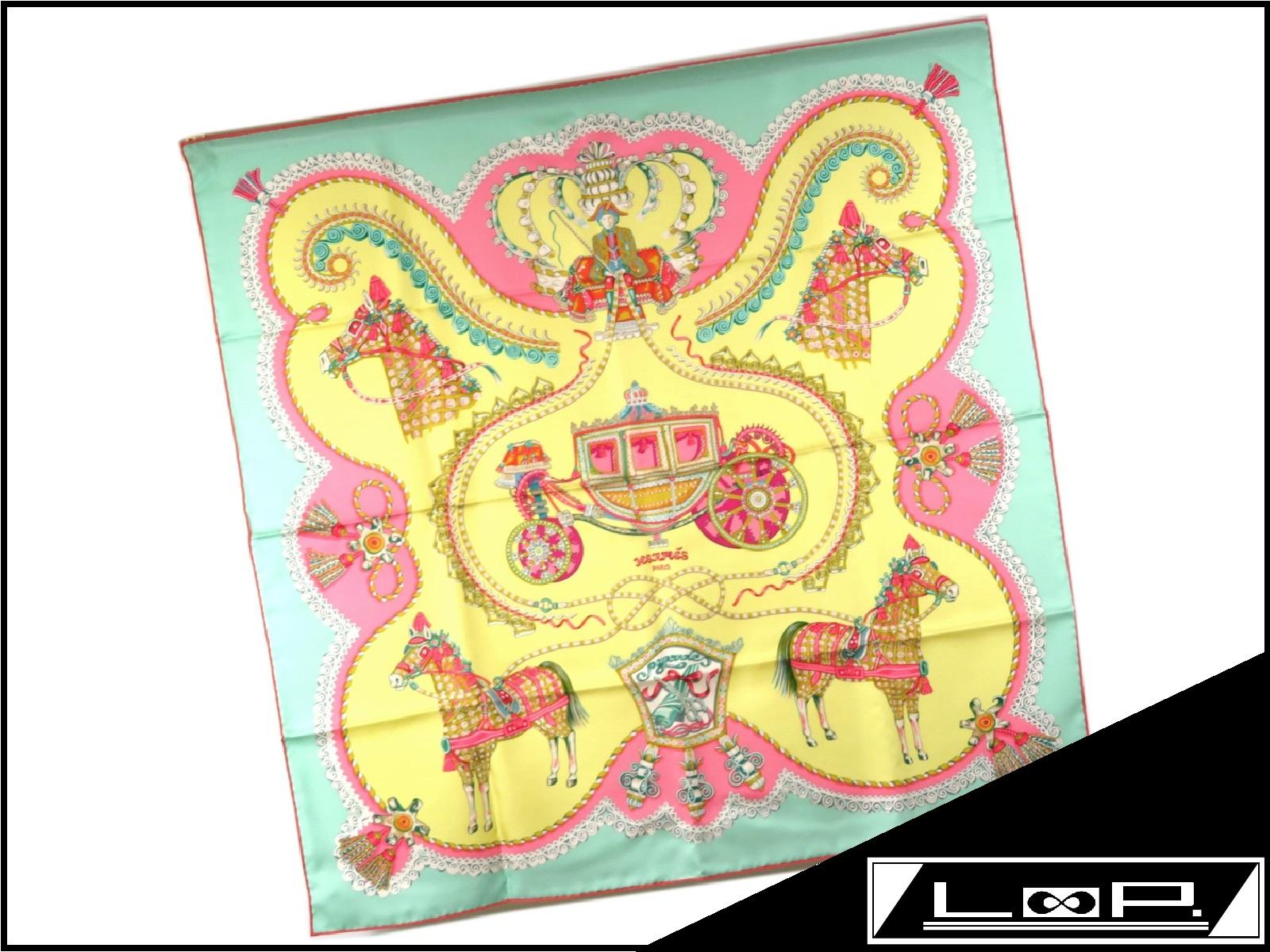 【未使用】 HERMES エルメス カレ 90 paperole パプロール 馬車と貴族 スカーフ シルク イエロー 黄色 グリーン 緑 【A22418】 【中古】