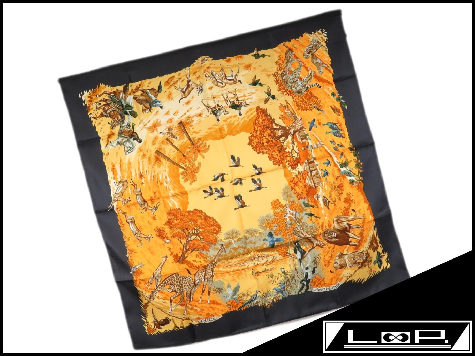 【HERMES】 エルメス カレ 90 Afurica アフリカ スカーフ 動物 シルク オレンジ ブラック 黒 【A23063】 【中古】