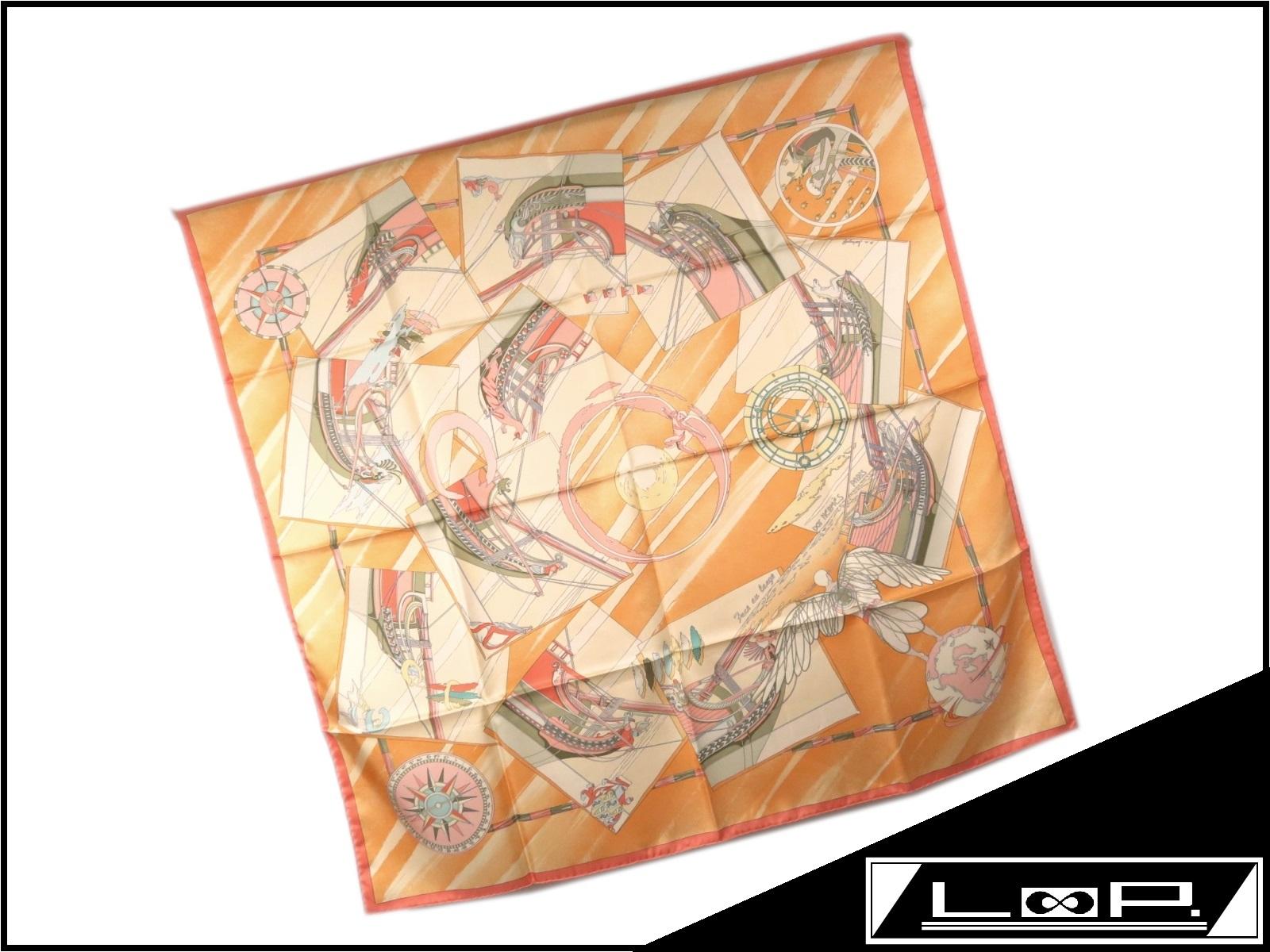 【美品】 HERMES エルメス カレ 90 Face au large 沖に向かって スカーフ シルク オレンジ 船 帆 【A23315】 【中古】