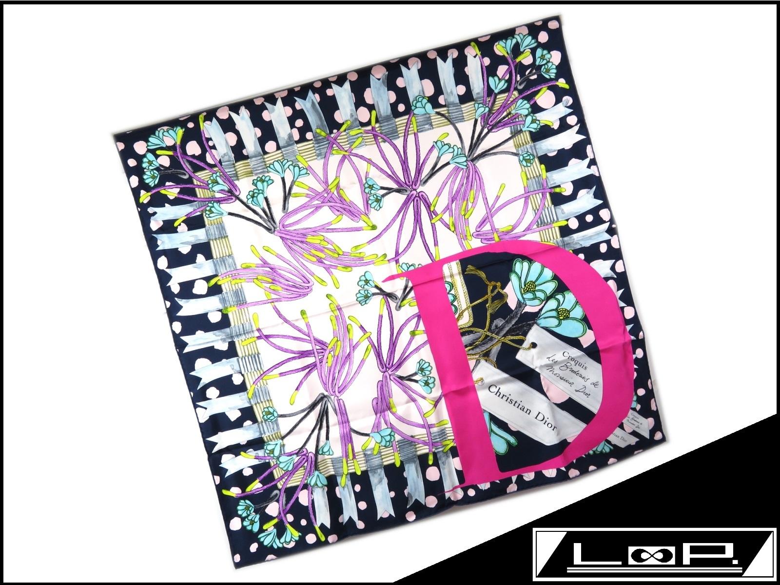【新同】 Christian Dior クリスチャン ディオール ロゴ D カレ スカーフ シルク フラワー 花 ネイビー ピンク 【A23708】 【中古】