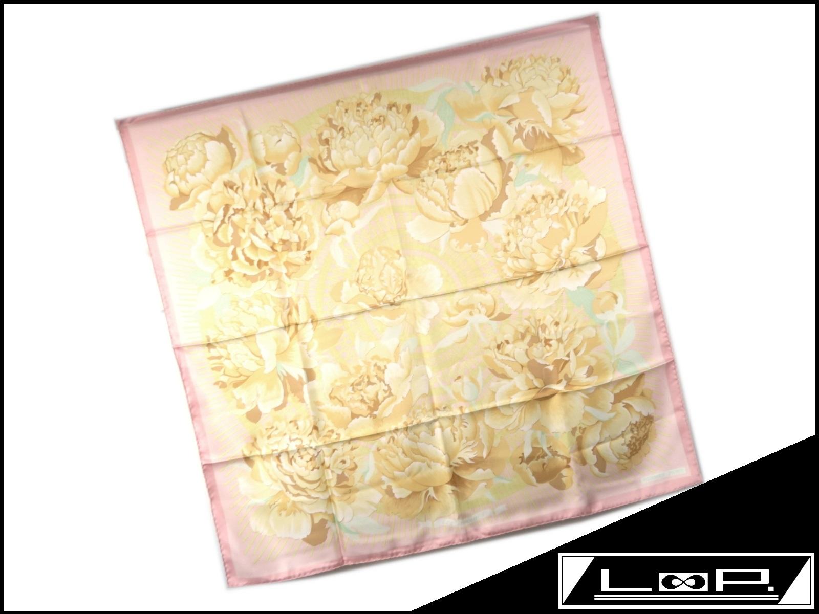 【美品】 HERMES エルメス カレ 90 Les pivoines 芍薬 スカーフ シルク ピンク ベージュ イエロー 花 フラワー 【A23792】 【中古】