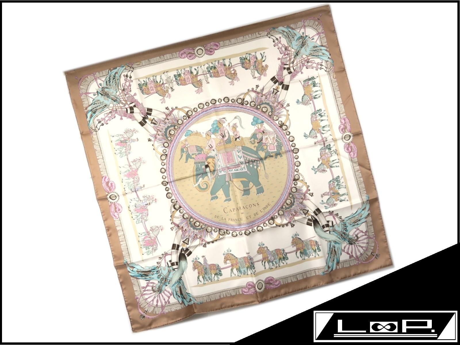【未使用】 HERMES エルメス カレ 90 CAPARACONS 馬かざり スカーフ シルク 馬 象 ベージュ ブラウン 【A23671】 【中古】