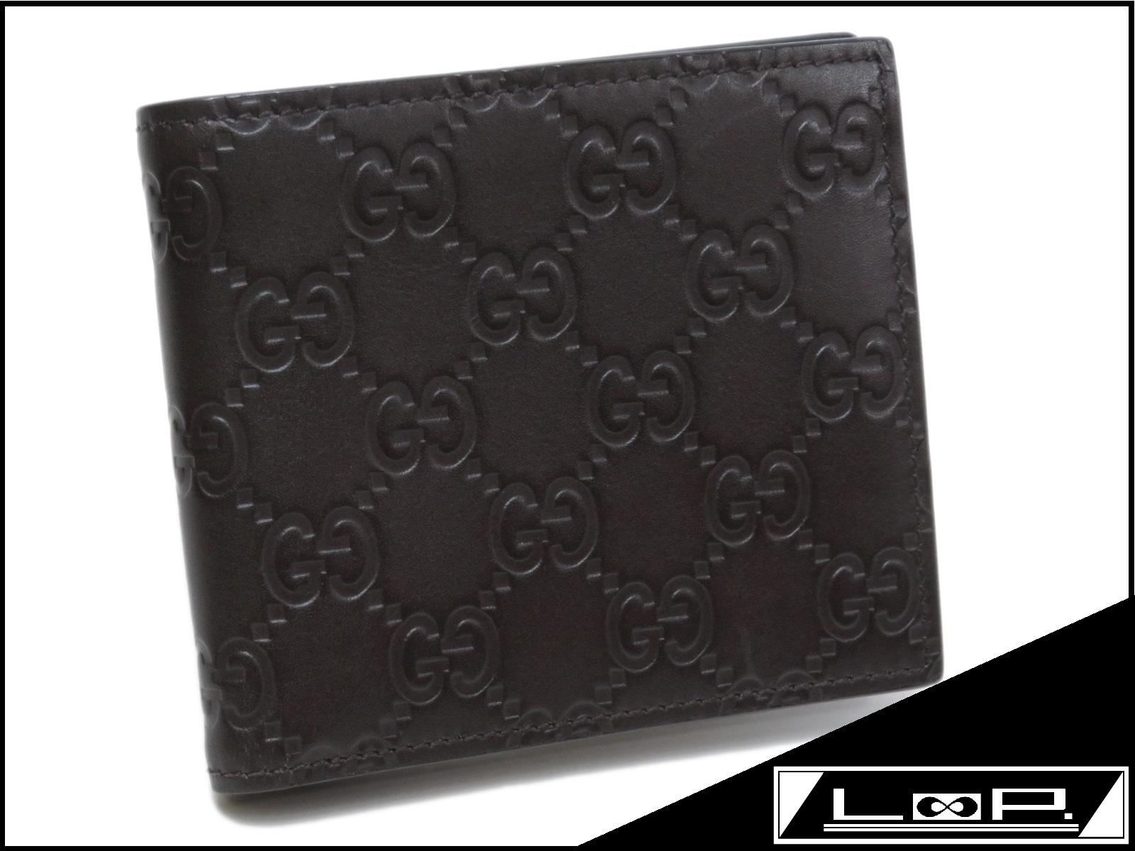 【GUCCI】 グッチ 二つ折り 財布 サイフ シマ カーフ レザー ブラウン 茶 365467 【A24471】 【中古】