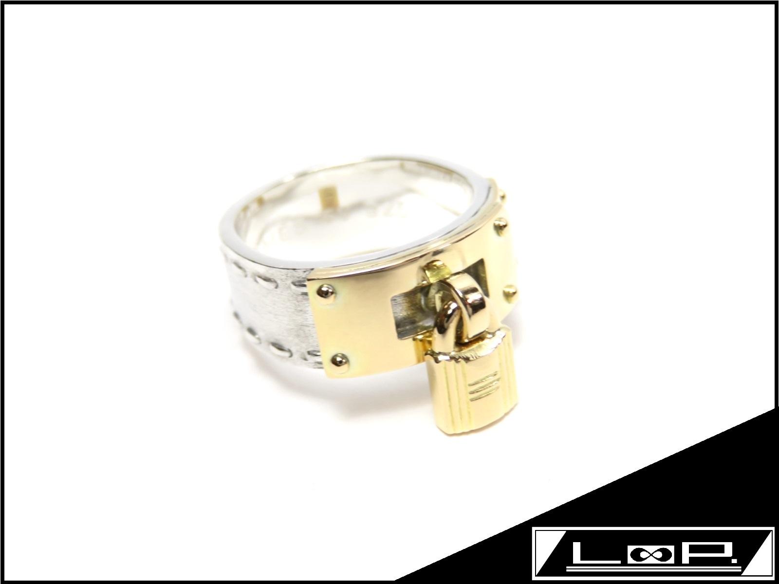 【磨き済 美品】 HERMES エルメス ケリー リング 指輪 アクセサリー コンビ シルバー ゴールド SV 925 YG 750 【A23526】 【中古】
