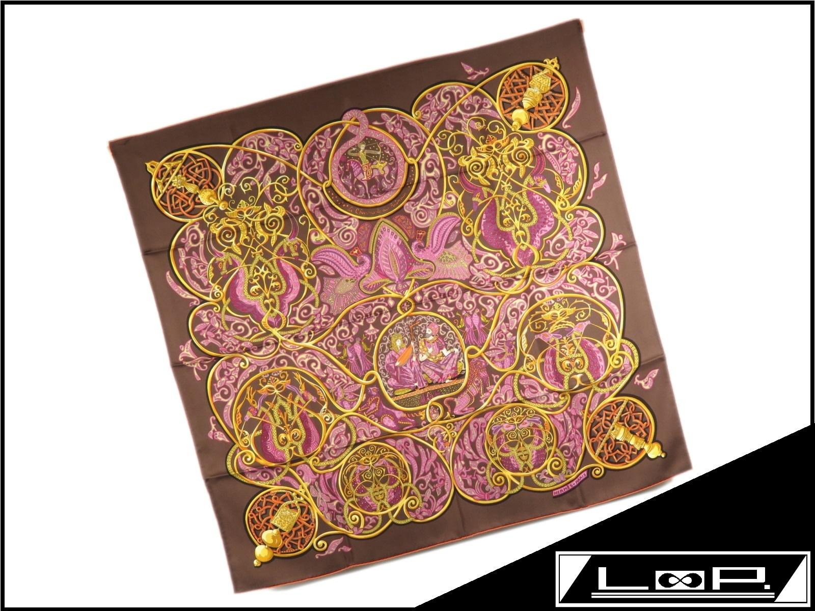 【美品】 HERMES エルメス カレ 90 Charmante aux Animaux 動物の楽園 スカーフ シルク ブラウン 茶 ピンク 【A24615】 【中古】