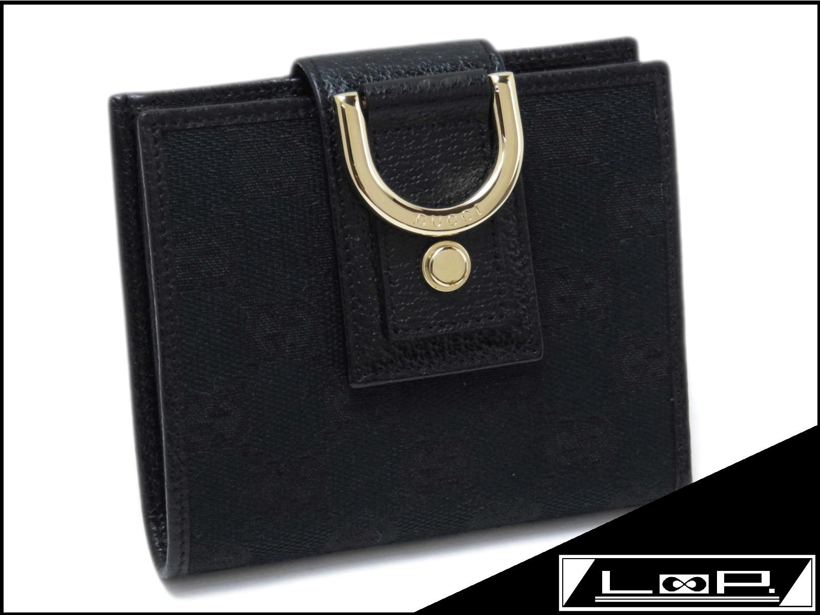 【美品】 GUCCI グッチ 二つ折り 財布 サイフ GG キャンバス カーフ ブラック 黒 141421 【A25278】 【中古】