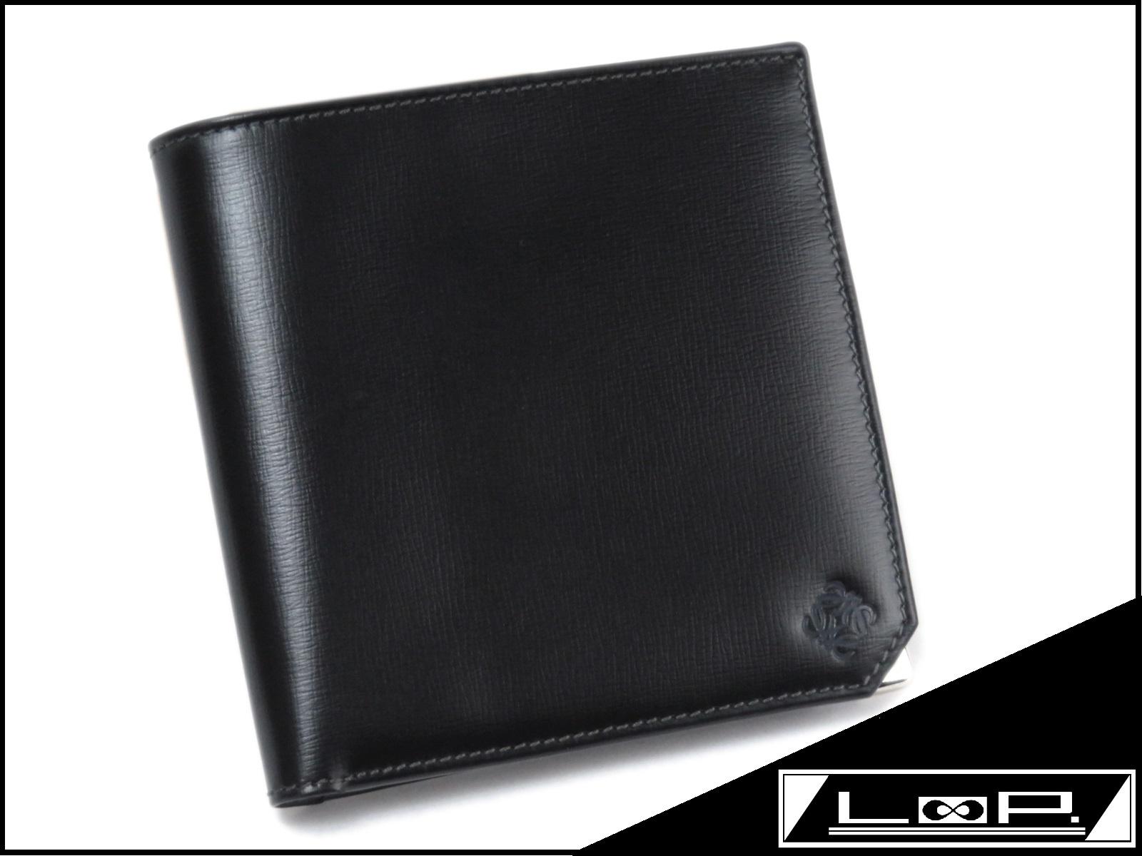 【LOEWE】 ロエベ 二つ折り 財布 サイフ レザー ブラック クロ 黒 【A25668】 【中古】