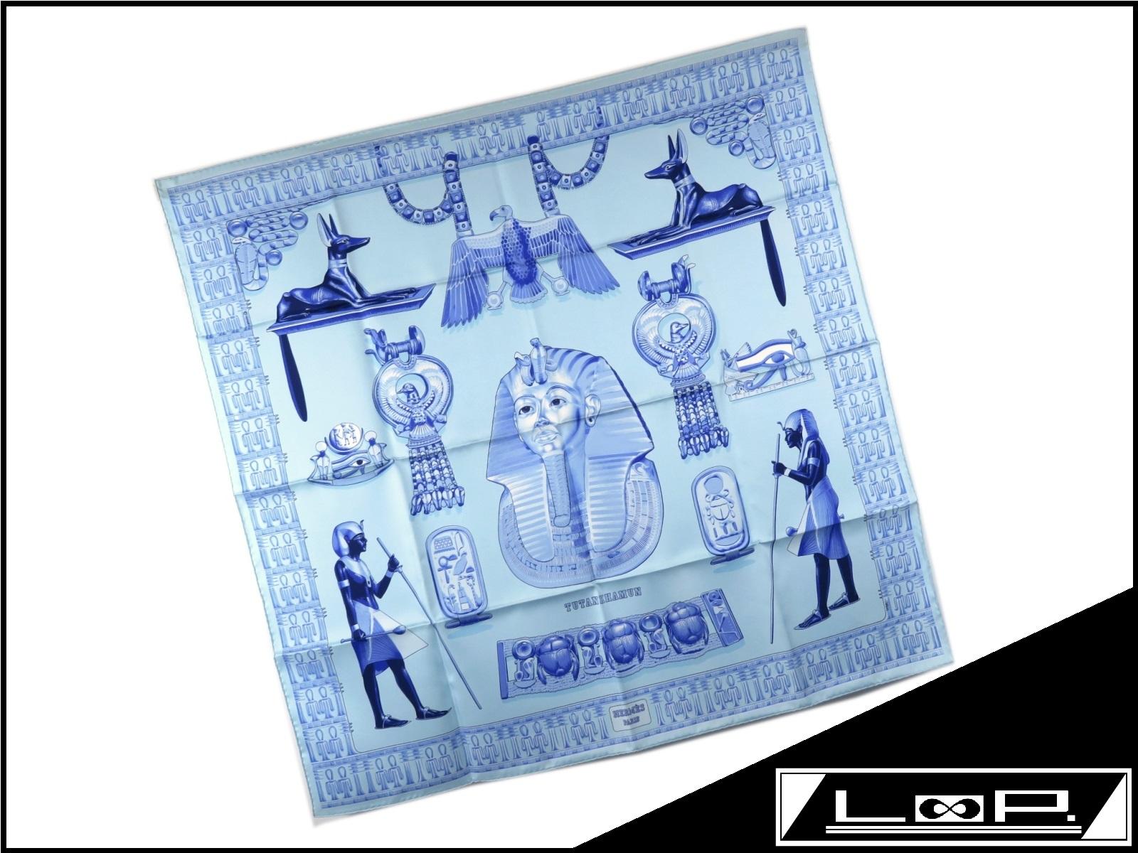 【新同】 HERMES エルメス カレ 90 TUTANKHAMUN ツタンカーメン スカーフ シルク ブルー 青 水色 【A25837】 【中古】