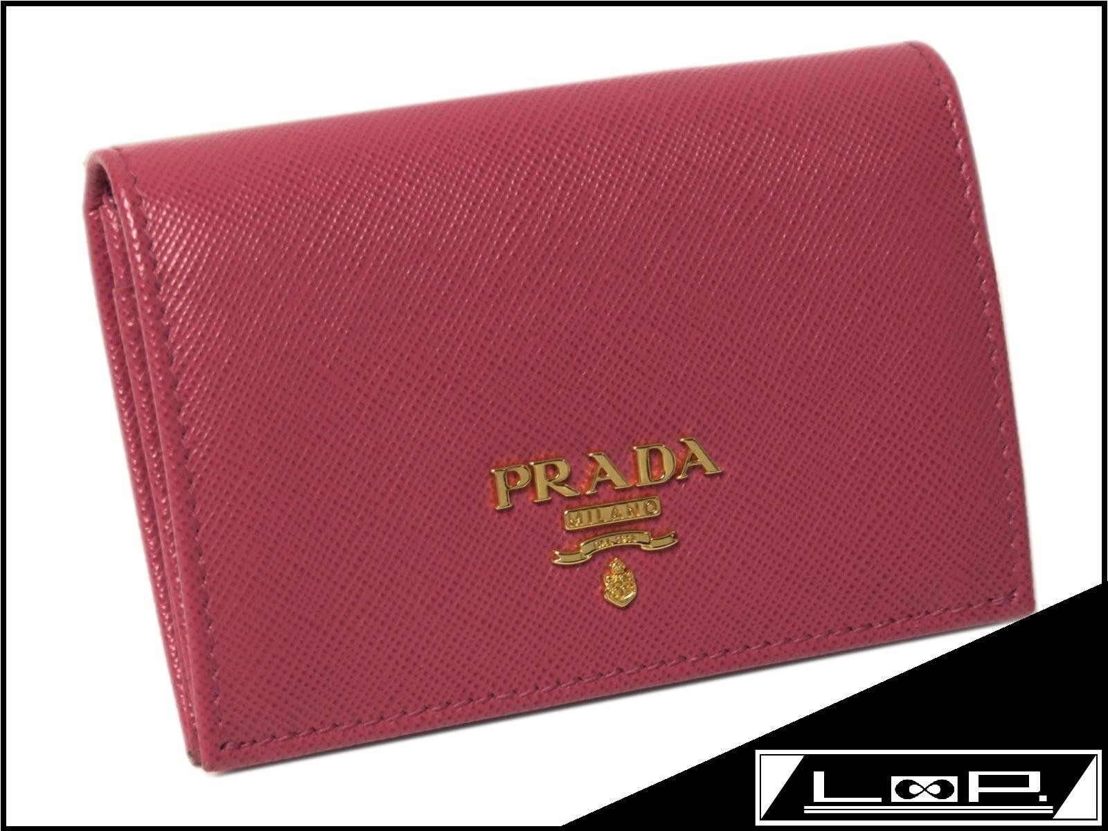 【美品】 PRADA プラダ カード ケース パス ケース サフィアーノ レザー ピンク ゴールド 1M0945 【A25770】 【中古】
