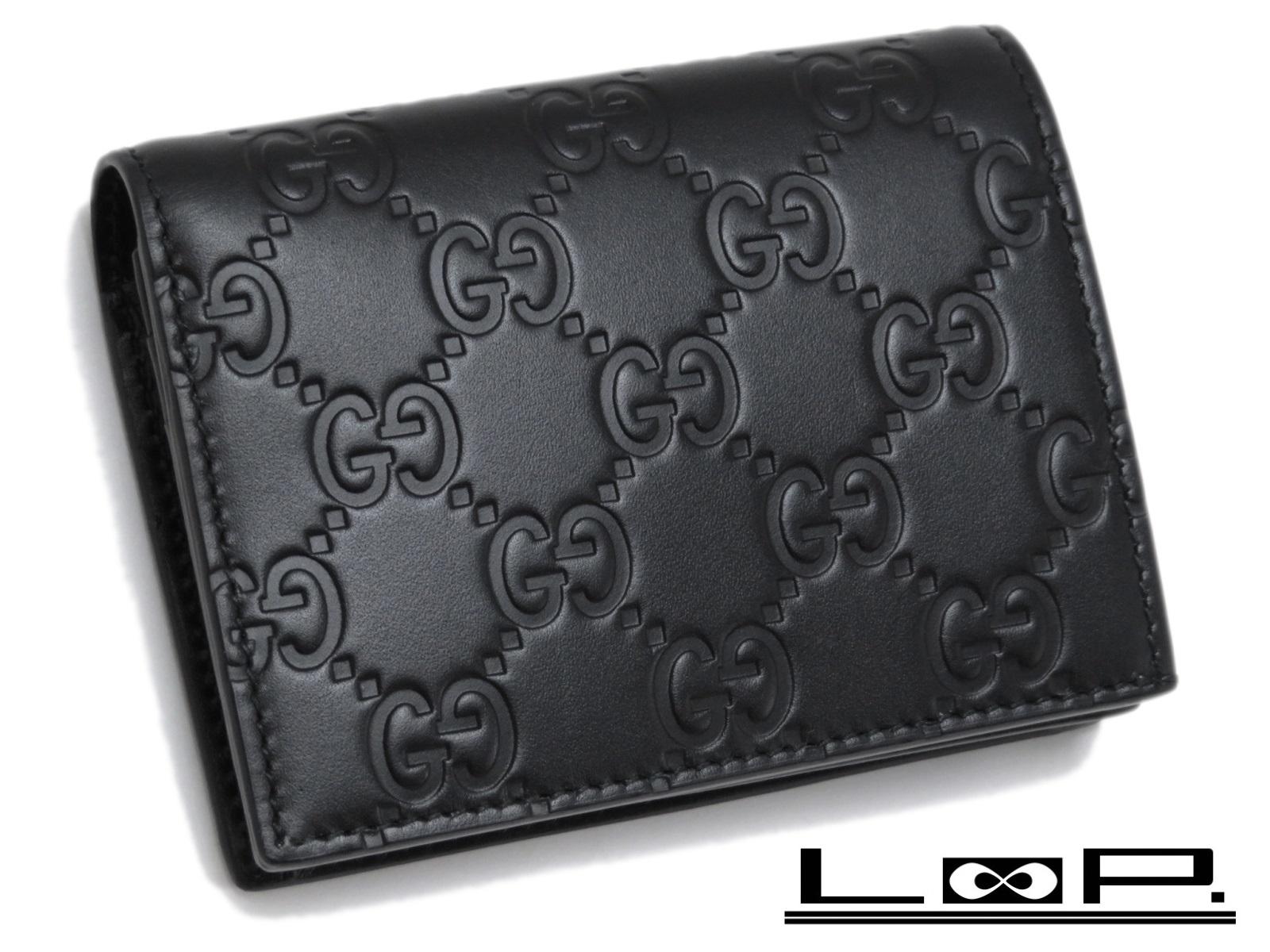 【未使用】 GUCCI グッチ 二つ折り 財布 サイフ カード ケース GG シマ レザー カーフ ブラック クロ 黒 410120 【A26451】 【中古】