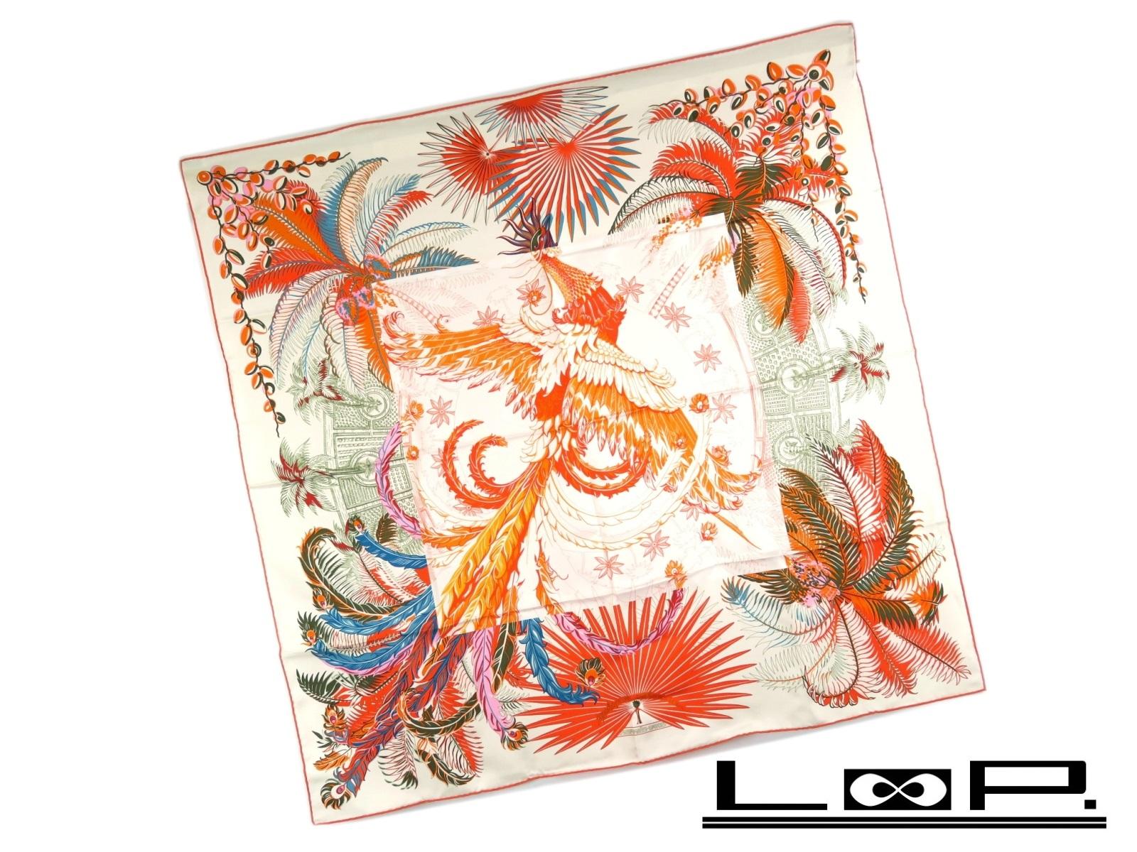 【美品】 HERMES エルメス カレ 90 Mythiques phoenix 不死鳥の神話 スカーフ シルク ホワイト 白 オレンジ 【A28379】 【中古】