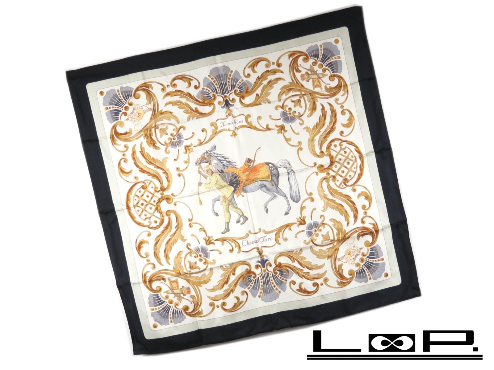 【美品】 HERMES エルメス カレ 90 Cheval Turc トルコの馬 スカーフ シルク オフホワイト 白 ブラック 黒 【A28717】 【中古】