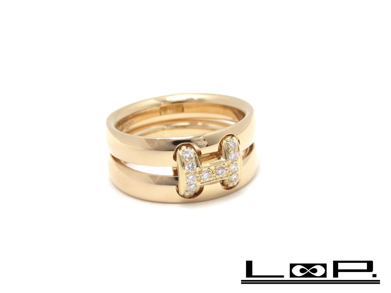 【磨き済 新同】 HERMES エルメス オランプ リング 指輪 アクセサリー ダイヤ ゴールド K18 YG 750 #53 【A30857】 【中古】