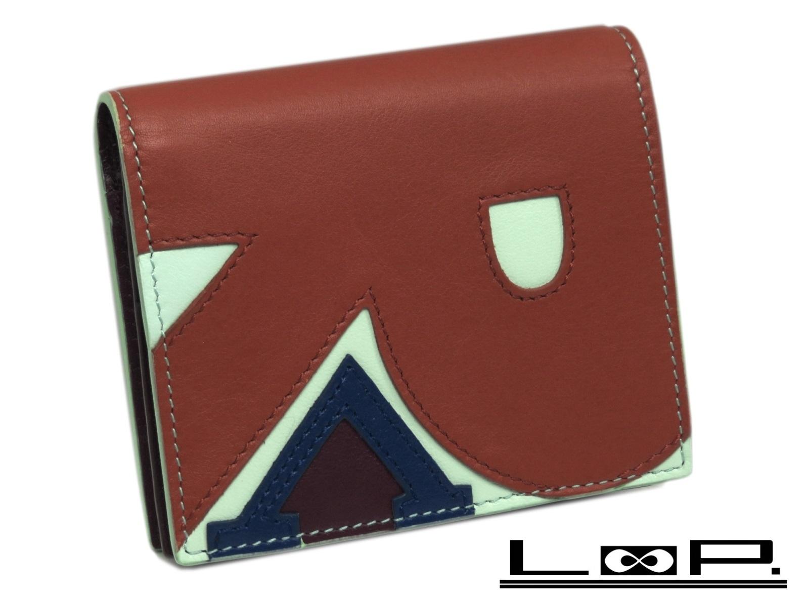 【新同】 Roger Vivier ロジェ ヴィヴィエ 二つ折り 財布 サイフ レザー ブルー 水色 パープル 紫 レッド 赤 【A37381】 【中古】