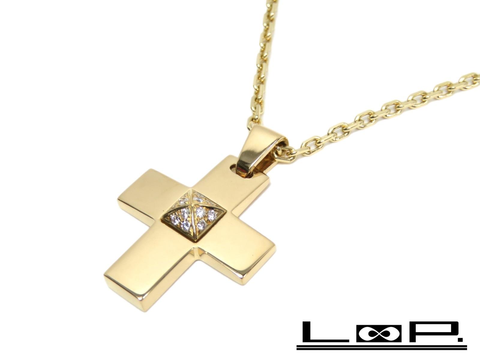 【磨き済 新同】 HERMES エルメス クロス ネックレス パヴェ ダイヤ ダイヤモンド アクセサリー 十字架 ゴールド K18 YG 750 【A44099】 【中古】