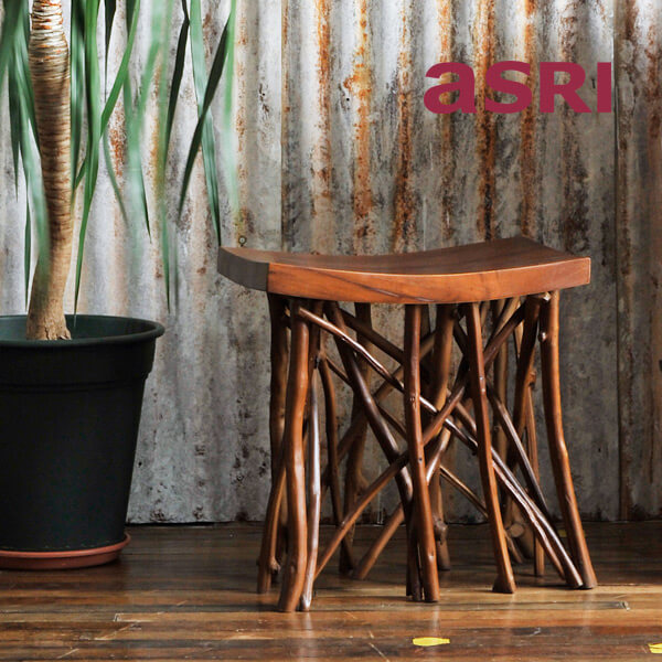 アスリー スツール 木製 チーク 完成品 ( チェア チェアー イス 椅子 ディスプレイ 家具 天然木 北欧 アジアン バリ リゾート インテリア おしゃれ モダン )