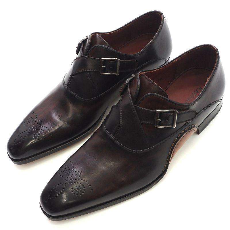 未使用品 MAGNANNI レザーシューズ 革靴 サイズ:38 ダークブラウン オパンケ製法 メンズ お値打ち価格で H02353 SYM 店 5L FAUG31 メダリオン HM