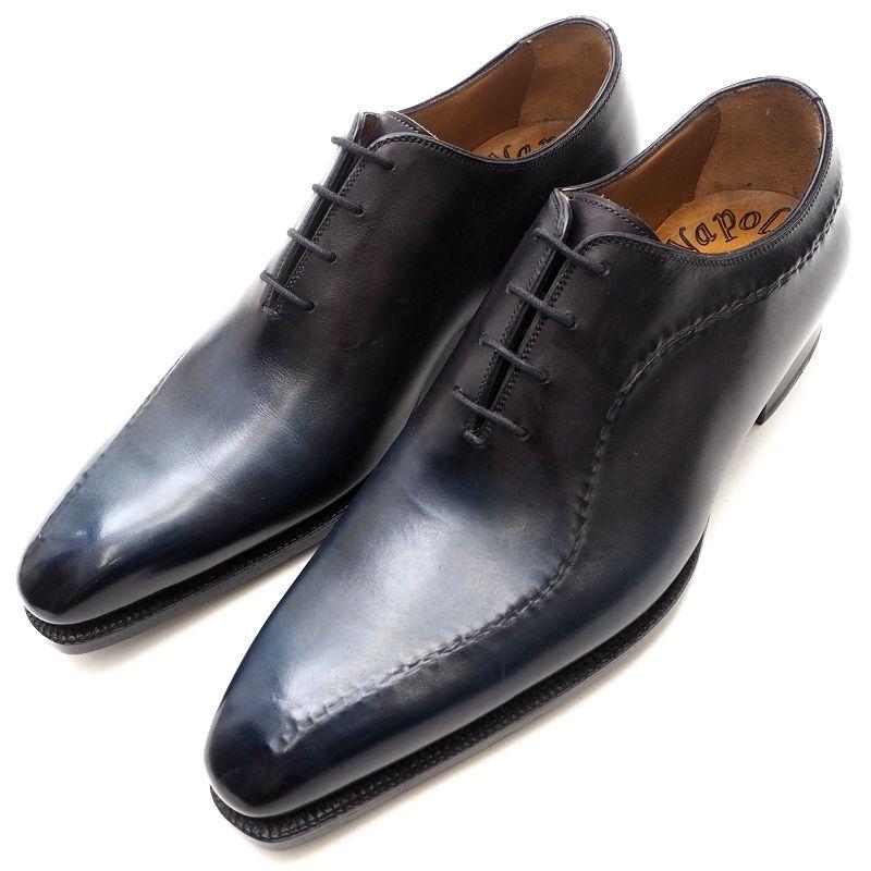 超美品 Napolitano Rachele ナポリターノラケーレ レザーシューズ 7 ブラック×ダークブルー 革靴 メンズ 5L/911243/201911/【bzbnr】