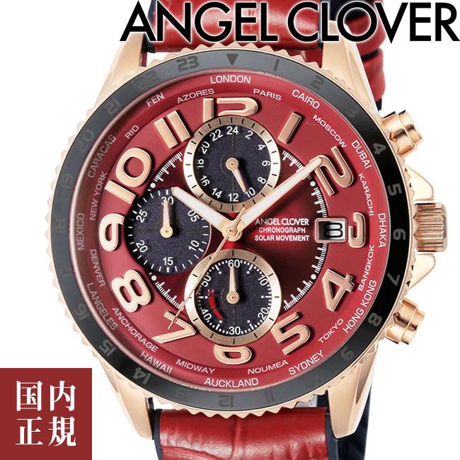 エンジェルクローバー 腕時計 モンドソーラー クロノグラフ メンズ レッド/ピンクゴールド/レッドレザー Angel Clover MONDO SOLAR MOS44PRE-RE 安心の正規品 代引手数料無料 送料無料 あす楽 即納可能