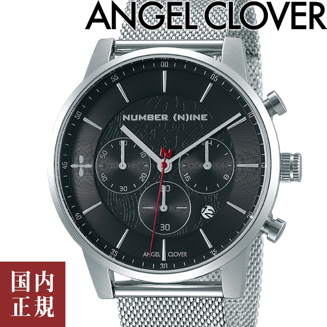 エンジェルクローバー 腕時計 ナンバーナイン コラボモデル メンズ クロノグラフ ブラック メッシュ Angel Clover NUMBER (N)INE NNCH42SBK 安心の正規品 代引手数料無料  あす楽 即納可能