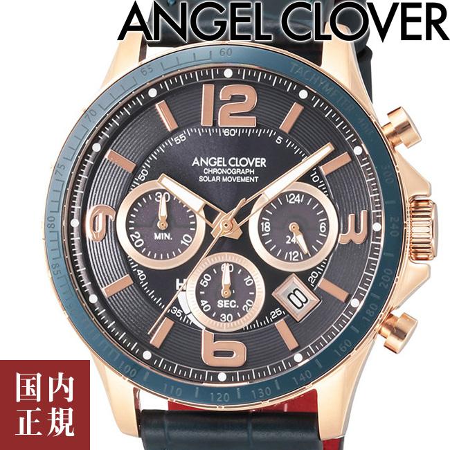 エンジェルクローバー 腕時計 タイムクラフトソーラー クロノグラフ メンズ ネイビー/ネイビーレザー Angel Clover TIME CRAFT TCS44PG-NV 安心の正規品 代引手数料無料 送料無料 あす楽 即納可能