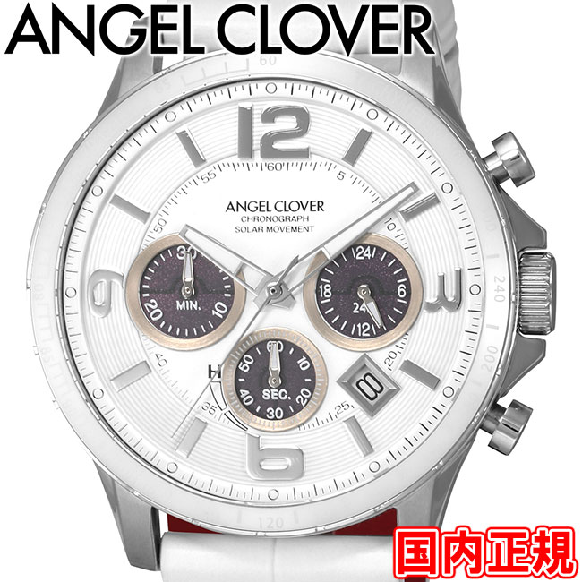 エンジェルクローバー 腕時計 タイムクラフトソーラー クロノグラフ メンズ ホワイト/ホワイトレザー Angel Clover TIME CRAFT TCS44SWH-WH 安心の正規品 代引手数料無料 送料無料 あす楽 即納可能
