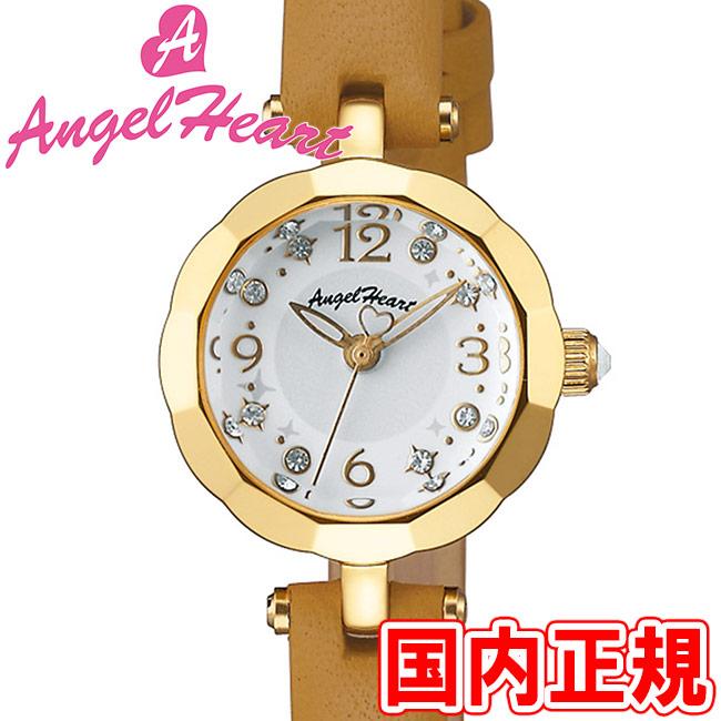 エンジェルハート レディース腕時計 ブリリアントフラワー 21mm ホワイトダイヤル/イエローゴールド/ブラウンレザー スワロフスキー Angel Heart Brilliant Flower BF21Y-BW 安心の正規品 代引手数料無料 送料無料
