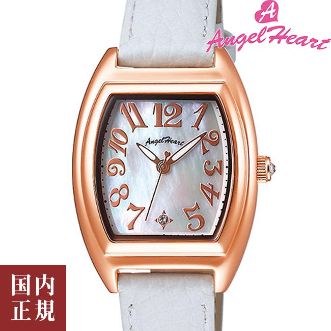 エンジェルハート 腕時計 レディース ファーストスター 26mm ソーラー ホワイトシェルダイヤル/ピンクゴールド/ホワイトレザー Angel Heart FS26P-WH 安心の正規品 代引手数料無料 送料無料