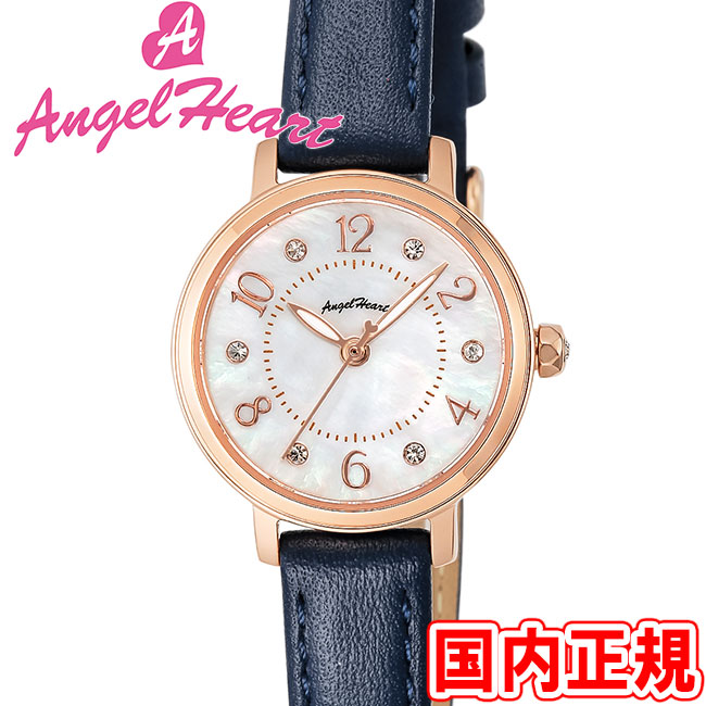 エンジェルハート 腕時計 レディース トゥインクルハート ソーラー ホワイトMOP/ピンクゴールド レザー Angel Heart THN24PNV 安心の正規品 代引手数料無料 送料無料 あす楽 即納可能