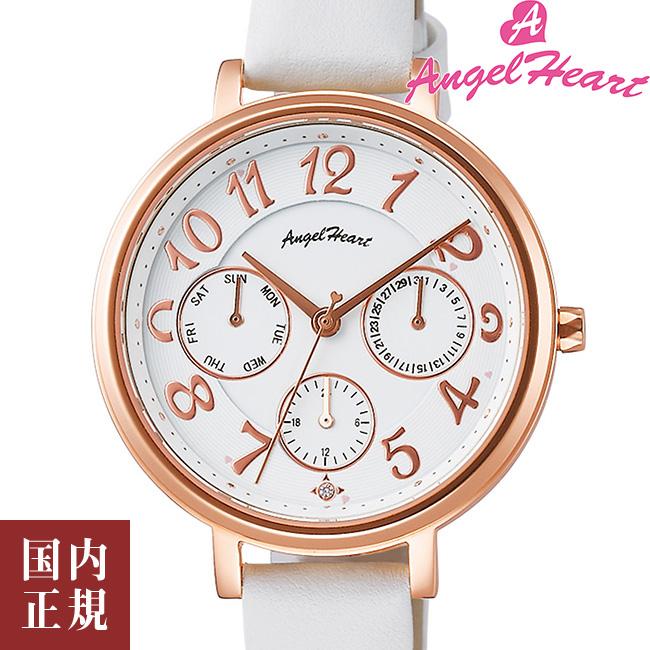エンジェルハート 腕時計 レディース ウィッシュスター 33mm ソーラー ホワイトダイヤル/ピンクゴールド/ホワイトレザー Angel Heart WS33P-WH 安心の正規品 代引手数料無料 送料無料