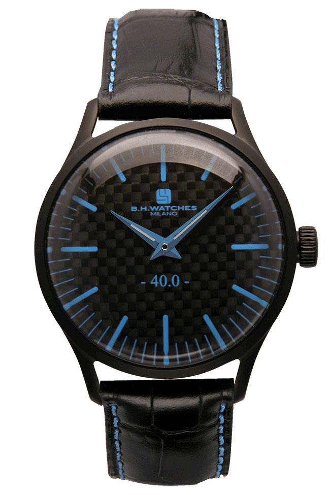 ビーエイチウォッチズミラノ 腕時計 イタリア製 ブラックケース カーボン ブラック ライトブルー W40BKBKLB B.H.WATCHES MILANO 安心の正規品 代引手数料無料